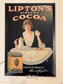 Vintage Lipton's Instant Cocoa Tin Over Cardboard Advertising Sign