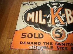 Vintage MIL K Botl Orange Soda Pop Farm Dairy Milk 5 Cent Tin Advertising Sign