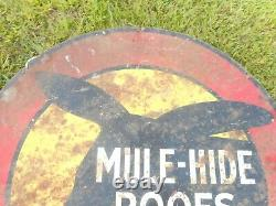 Vintage MULE HIDE ROOFS TIN METAL ROUND FARM ANIMAL ADVERTISING SIGN
