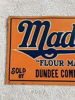 Vintage Maid Rite Flour Tin Tacker Advertising Sign Dundee Iowa Country Store
