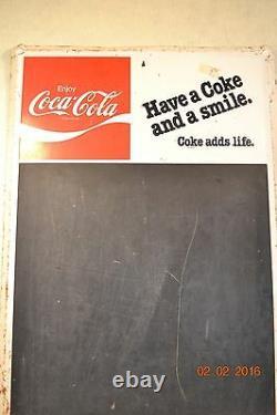 Vintage Menu Sign Chalk Board COKE COLA Advertising Tin MCA 339 #389110H