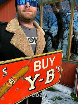 Vintage Metal BY and YB Cigar Tobacco Cigarette Smoking Tin Metal Sign 28inX12