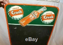 Vintage Metal Orange Crush Tin Menu Chalkboard Sign 27x19 Soda Pop Advertising