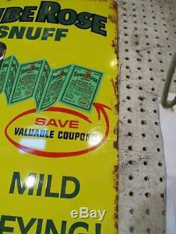Vintage Metal Sign Tube Roll Snuff Sign 23.5 X 16.5 Tin Sign