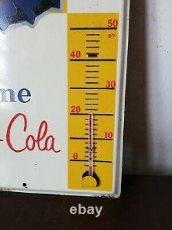 Vintage Mexican Tome Pepsi Cola Thermometer tin metal sign advertising 1950's