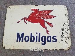 Vintage Mobil Gas Metal Tin Sign Pegasus Flying Horse Oil Farm Garage Station