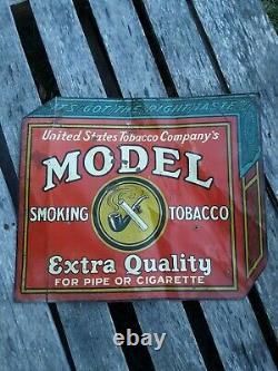 Vintage Model Smoking Tobacco Sign, Vintage Cigarette Sign, Tin Tacker Sign