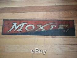 Vintage Moxie tin sign, embossed Moxie soda