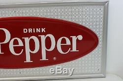 Vintage NEW OLD STOCK Original Dr Pepper Tin Sign Soda Advertising Metal pop