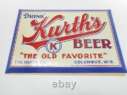 Vintage NOS TOC KURTHS BEER COLUMBUS WISCONSIN WI Tin Cardboard ADVERTISING SIGN
