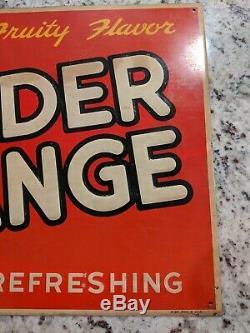 Vintage NOS WONDER ORANGE Soda Advertising Sign Crush Beverages Pop Tin Tacker