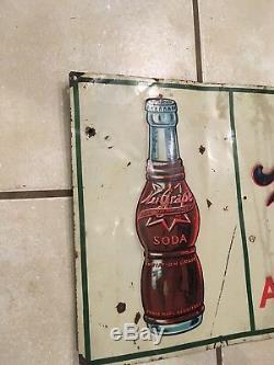 Vintage NUGRAPE Soda Sign Metal Tin Sign 1940s Rare 31L x 12 W not Coke Pepsi