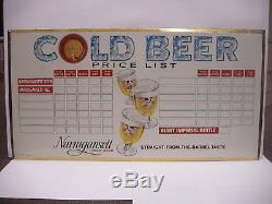 Vintage Narragansett Lager Beer Cold Beer Price List Tin Litho Sign Cranston RI