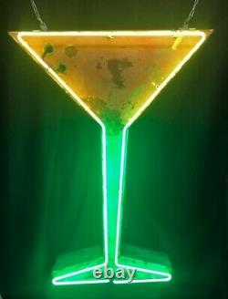 Vintage Neon Tin Can Martini Glass Sign Shipping Available