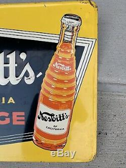 Vintage Nesbitts Advertising Sign California Orange Tin Embossed Sign