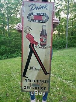Vintage Nichol Kola Tin Metal Sign Advertising Cola Soda