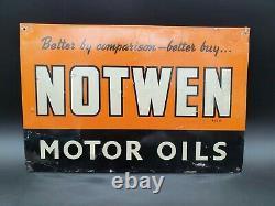 Vintage Notwen Motor Oil Advertising Tin Sign Garage Advertising Automobilia