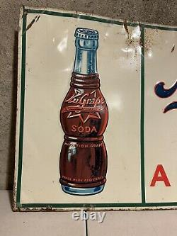 Vintage NuGrape Soda Embossed Tin Advertising Sign Enjoyed By Millions 31 x 12
