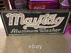 Vintage ORIGINAL Smaltz MAYTAG ALUMINUM WASHER Sign PUNCHED TIN 1920's PRE NEON