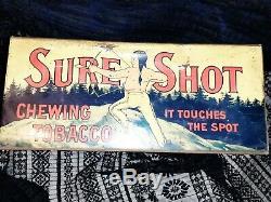 Vintage Old Sure Shot Tobacco Metal Tin sign General Store Display litho native