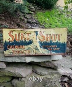Vintage Old sure shot metal sign tobacco display gas General store