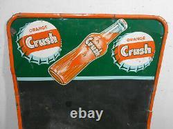 Vintage Orange Crush Cola 27 X 19 Soda Pop Bottle Cap Tin Menu Sign Rare