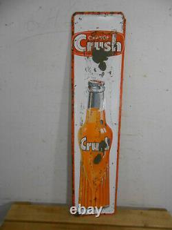 Vintage Orange Crush Cola 35 X 8 Soda Bottle Store Advertising Tin Sign Rare