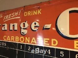Vintage Orange Crush Embossed Score Board Tin Metal Sign October 1939 Baseball