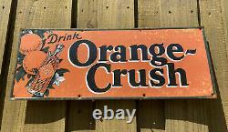Vintage Orange Crush Gas Oil Service Station Soda Beverage Tin Tacker RARE Sign