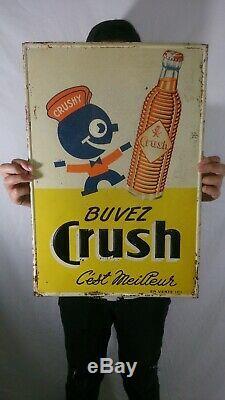 Vintage Orange Crush Soda Embossed Tin Sign Crushy Buvez Crush RARE