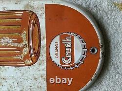 Vintage Orange Crush Tin Sign Advertising Thermometer