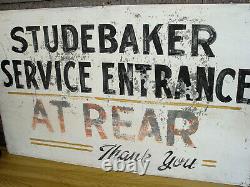 Vintage Orig. Studebaker Dealership Hand Painted Tin Rear Entrance Sign