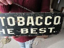 Vintage Original 1880 1910 Star Tobacco 3 Way Message Tin Litho Display Sign