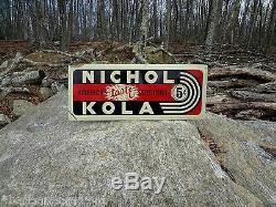 Vintage Original 1930's 1940's EMBOSSED TIN SIGN NICHOL KOLA Cola Metal Soda