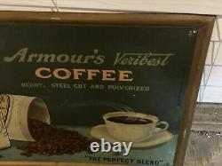 Vintage Original 1930s Armours Veribest Coffee tin over cardboard Sign