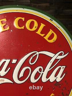 Vintage Original 1933 Coca Cola Round Advertising Tin Sign Watermelon Ice Cold