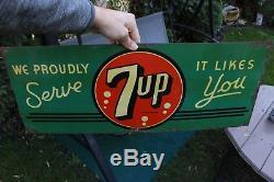 Vintage Original 1940's 7Up 7 Up Soda Pop Metal Sign Tin Advertising