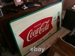 Vintage Original 1940's Coca Cola Bottle Double Fishtail 31.5 x 55.5 Tin