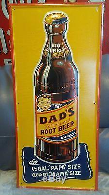 Vintage Original 1940 S Dad S Root Beer Soda Embossed Tin