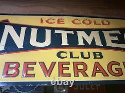 Vintage Original 1940s Nutmeg embossed Tin Soda Sign