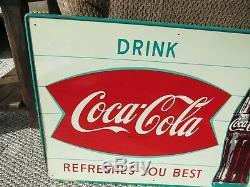 Vintage Original 1947 Coca Cola Fishtail & Bottle Dealer Display Sign Tin Litho