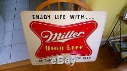 Vintage Original 1954 MILLER High Life BEER Embossed Tin Advertising Sign NM