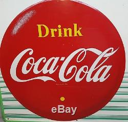 Vintage Original 1959 Canadian Coca-Cola Tin Advertising Sign pictures Bottle