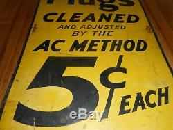 Vintage Original 5 Cent AC SPARK PLUGS CLEANED Tin Advertising Gas Station SIGN