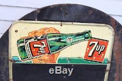 Vintage Original 7 Up Chalk Board Tin Sign Metal Advertising Soda Pop 7up