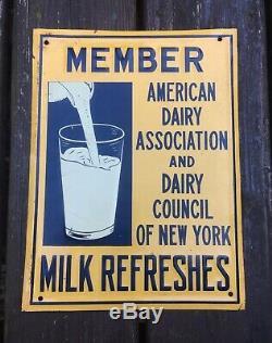 Vintage Original American Dairy Association Milk Farm Embossed Tin Steel Sign NY