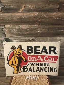 Vintage Original Bear Alignment Wheel Balancing Sign Service Station Sign