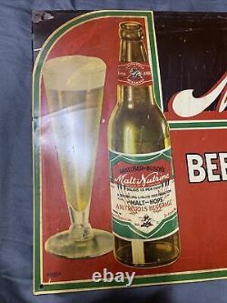 Vintage Original Budweiser Beer Malt-Nutrine Breweriana Tin Sign 23.5 x 10.75