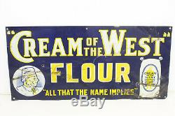 Vintage Original Cream of the West Flour Tin Sign Advertising Toronto Metal