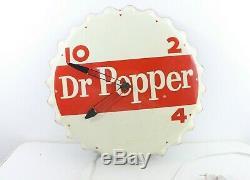 Vintage Original Dr Pepper Bottle Cap Electric Clock Metal Tin Sign Advertising